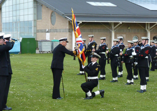 Rear Admiral Neil Rankin presents colours to TS Valiant Dunbar