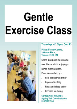 Gentle Exercise @ The Fraser Centre | Tranent | United Kingdom